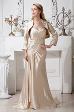 Sweetheart Mother Dress in Champagne with Brush Train