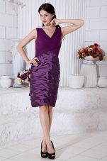 Purple V Neck Knee Length Shimmering Mother Dress 2013