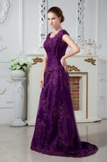 Purple A Line Off The Shoulder Mother of The Bride Dress