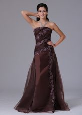 Strapless Appliques Brown Prom Celebity Dress