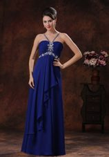 Royal Blue Beaded V-neck Prom Cocktail Dress