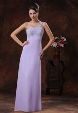 Beaded One Shoulder Lilac Prom Evening Dress