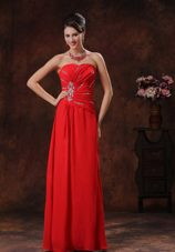 Red Beaded Floor-length Strapless Chiffon Prom Dress