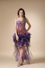 One Shoulder Purple High-low Organza Prints Homecoming Dress