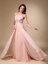 Baby Pink EmpireChiffonBeading Prom Dress With Straps