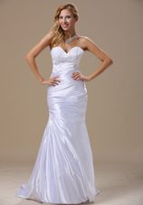 Mermaid Ruched Bridal Dresses For Beach Wedding Lace Appliques