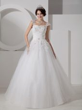 Popular 2013 Straps Tulle Beading Appliques Wedding Dress