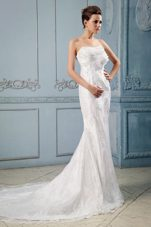 Fashionable Mermaid Wedding Dress Hand Made Flower Lace Train
