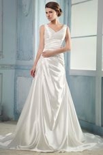 Luxurious V-neck Wedding Dress Ruching Court Train Taffeta