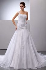 Wedding Dress One Shoulder Appliques Court Train Organza