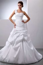 Beautiful Pick-ups Ruch Wedding Dress One Shoulder Court Train