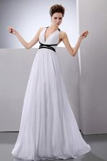 Sexy White and Black Halter Chiffon Outdoor Wedding Dress