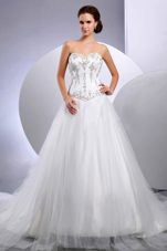Embroidery Cathedral Train Wedding Bridal Dress Sweetheart