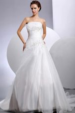 Layered Ruch Appliques Court Train Bridal Gown Wedding Dresses