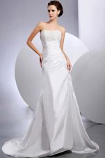 Custom Made Beading Ruched Wedding Dresses 2013 Court Train