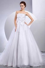 Hand Made Flower Ruched Cathedral Train Bridal Wedding Dress