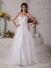 Layered Tulle Appliques Wedding Dress Brush Train Sweetheart