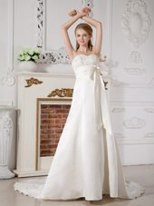 Ruched Bowknot Court Train Taffeta Beading Wedding Dresses