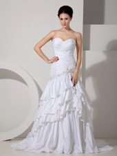 Mermaid Court Train Taffeta Appliques Ruched Wedding Dress