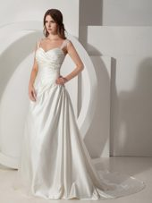 Simple Lace Straps Court Train Taffeta Ruched Wedding Dress