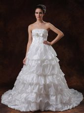 Beaded Chapel Popular Wedding Dress A-Line tiered