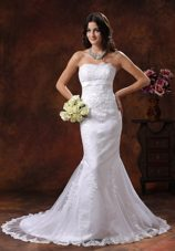 Popular 2013 Mermaid Wedding Dress Lace Decorate