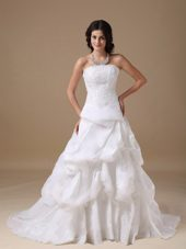 Popular A-line Court Lace Wedding Dress Strapless