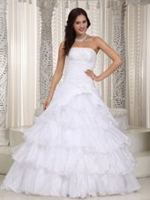 Organza Beading Flower Wedding Dress Popular A-line