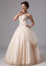 Champagne Lace Popular Wedding Dress Appliques Customize