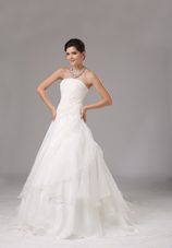 Popular Appliques Ruched Wedding Dress Organza A-line