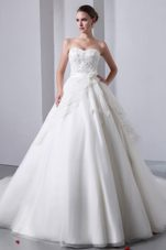 Sweetheart Lace Popular A-line Wedding Dress Cathedral