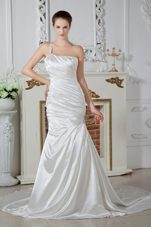 One Shoulder Brush Beading Wedding Dress Popular Mermaid