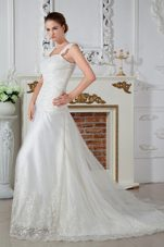 Popular Straps Applique Lace Wedding Dress Low Price