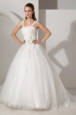 Popular A-line Straps Wedding Dress Court Appliques