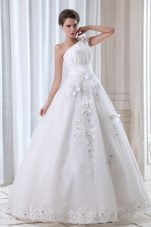 Beading Appliques Wedding Dress Popular One Shoulder
