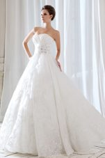 Sweetheart Lace Beading Popular Wedding Dress Ruch