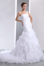 Popular Mermaid Ruffles Wedding Dress One Shoulder