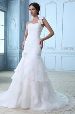 One Shoulder Organza Popular Ruch Flowers Wedding Dress