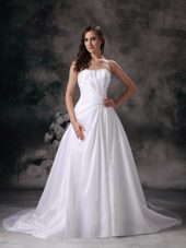 Popular Strapless Court Beading Wedding Dress A-line