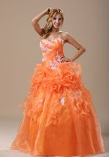 Appliques 2013 prom Pageant Dress Orange Hand Made Flowers