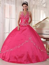 Red Halter Quinceanera Dress Taffeta Appliques