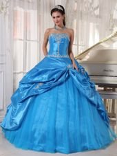 Blue Strapless Appliques Quinceanera Dress