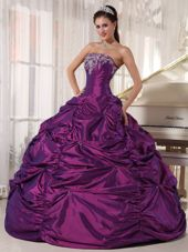 Purple Strapless Embroidery Quinceanera Dress