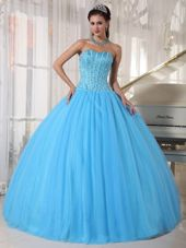Sky Blue Sweetheart Quinceanera Dress Tulle Beading