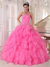 Hot Pink Strapless Beading Quinceanera Dress
