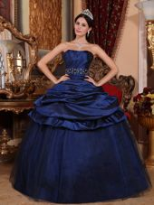 Quinceanera Dress Navy Blue Strapless Beading