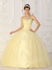 Light Yellow Sweetheart Appliques Quinceanera Dress