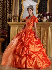 Orange Quinceanera Dress Sweetheart Appliques