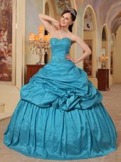 Teal Sweetheart Taffeta Beading Quinceanera Dress