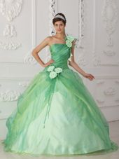 Apple Green Hand Flower One Shoulder Beaded Quinceanera Dress
